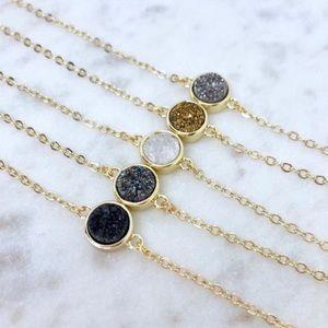 Dainty Gold Druzy Necklaces ✨